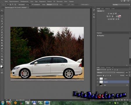 Photoshop: стоящий автомобиль превращается в движущийся