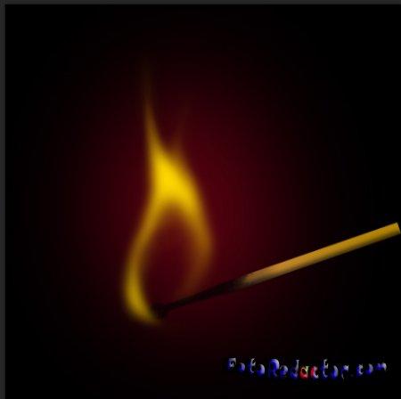 Как в Photoshop нарисовать горящую спичку