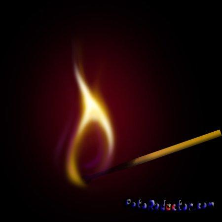 Рисуем горящую спичку в программе фотошоп