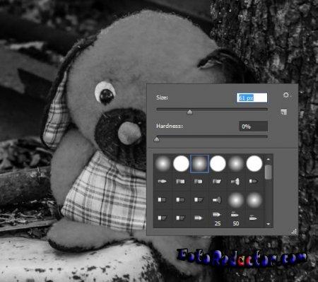 Цветной фрагмент на черно-белом снимке